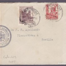 Sellos: CM2-82- GUERRA CIVIL CARTA JEREZ DE LA FRONTERA -SEVILLA 1937. LOCAL, FAJA Y CENSURA . Lote 160976142