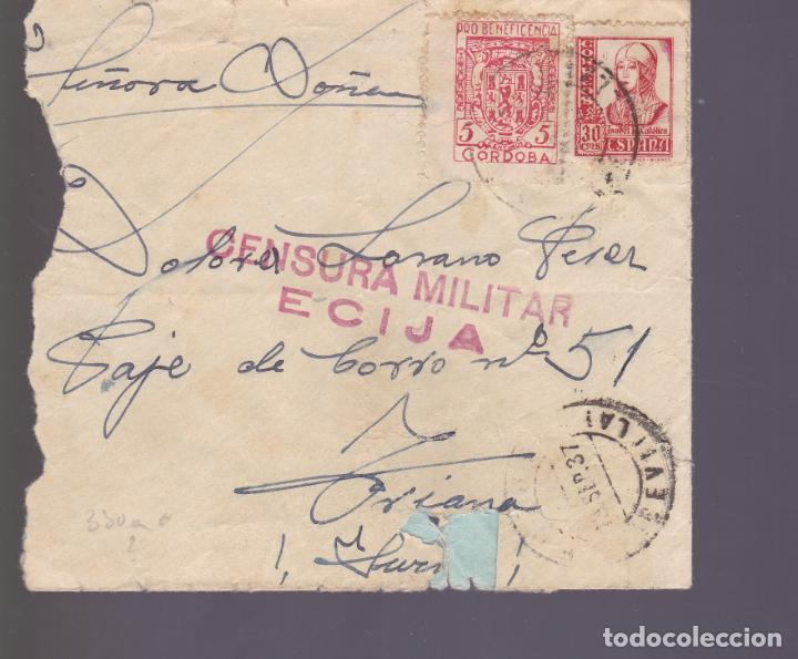 CM2-80- GUERRA CIVIL CARTA ECIJA-SEVILLA 1937 . LOCAL Y CENSURA (Sellos - España - Guerra Civil - De 1.936 a 1.939 - Cartas)