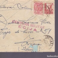 Sellos: CM2-80- GUERRA CIVIL CARTA ECIJA-SEVILLA 1937 . LOCAL Y CENSURA . Lote 160979114