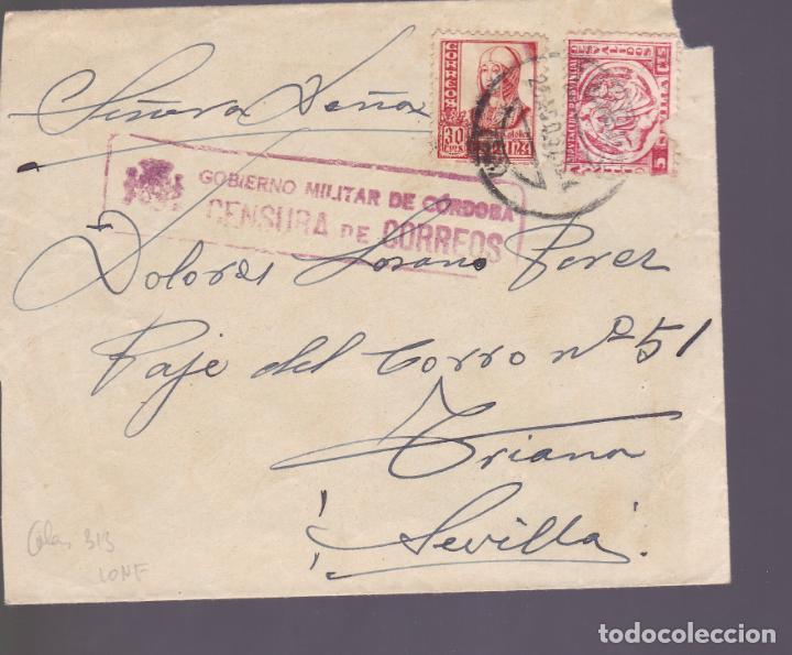 CM2-79- GUERRA CIVIL CARTA CORDOBA- SEVILLA 1937. LOCAL Y CENSURA (Sellos - España - Guerra Civil - De 1.936 a 1.939 - Cartas)