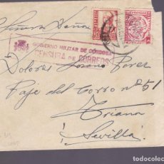 Sellos: CM2-79- GUERRA CIVIL CARTA CORDOBA- SEVILLA 1937. LOCAL Y CENSURA . Lote 160980966