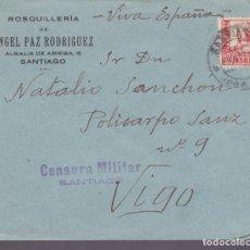 Sellos: CM2-78- GUERRA CIVIL CARTA ROSQUILLERÍA ANGEL PAZ SANTIAGO- VIGO 1937. CENSURA . Lote 160981426