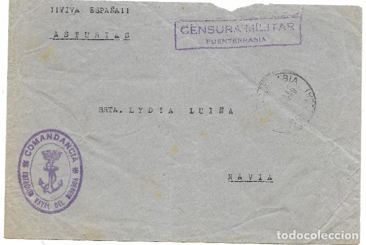 ESPAÑA. CARTA DE FUENTERRABIA A NAVIA CON MARCA DE LLA ESTACIÓN NAVAL DE BIDASOA (Sellos - España - Guerra Civil - De 1.936 a 1.939 - Cartas)