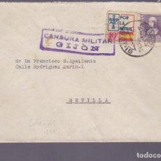 Sellos: CM2-77- GUERRA CIVIL. CARTA GIJON- SEVILLA 1939. CENSURA Y LOCAL . Lote 160985882