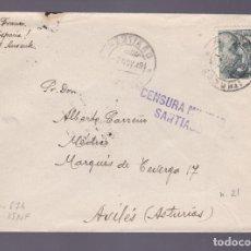 Sellos: CM2-76- GUERRA CIVIL. CARTA SANTIAGO-AVILES 1939. CENSURA . Lote 160986150