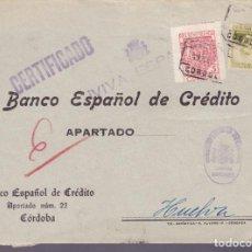 Sellos: CM2-76- GUERRA CIVIL.FRONTAL CERTIFICADO CORDOBA- HUELVA. 1937. LOCAL Y CENSURA . Lote 160986386
