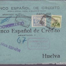 Sellos: CM2-76- GUERRA CIVIL.FRONTAL CERTIFICADO BADAJOZ - HUELVA. 1937. LOCAL Y CENSURA . Lote 160986498