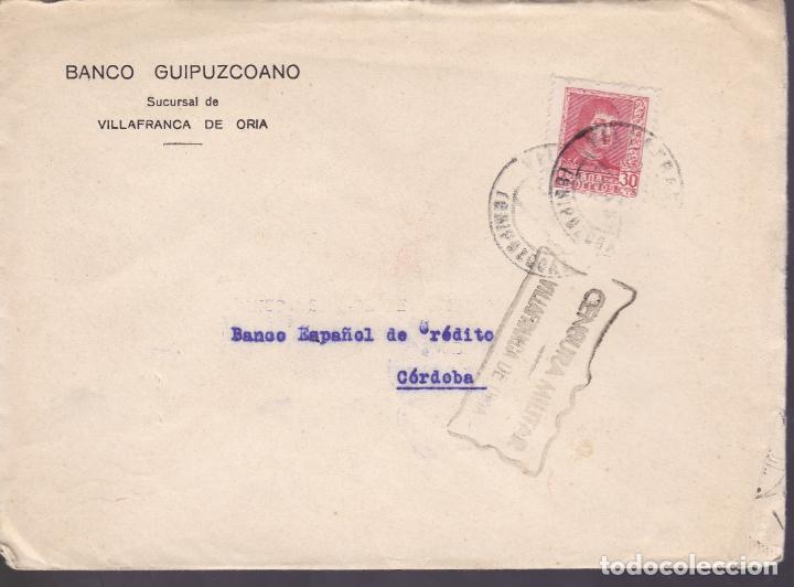 CM2-71- GUERRA CIVIL. CARTA VILLAFRANCA DE ORIA (GUIPUZCOA) 1938. LOCAL Y CENSURA (Sellos - España - Guerra Civil - De 1.936 a 1.939 - Cartas)