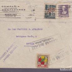 Sellos: CM2-67- GUERRA CIVIL. CARTA BARCELONA -SEVILLA. 1939. LOCAL, BENÉFICO. CENSURA. Lote 160996630