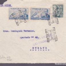 Sellos: CM2-29- GUERRA CIVIL.FRONTAL LAS PALMAS - HUELVA 1939 CENSURA . Lote 161000774