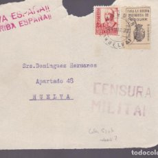 Sellos: CM2-7- GUERRA CIVIL.FRONTAL MOGUER - HUELVA 1937. LOCAL Y CENSURA . Lote 161003374