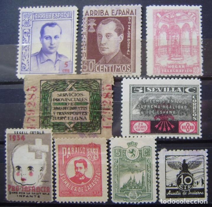 ESPAÑA - 9 VIÑETAS LOCALES DE LA GUERRA CIVIL (Sellos - España - Guerra Civil - Viñetas - Usados)