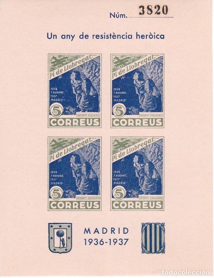 HOJITA BLOQUE DE 4 SELLOS DE 5 CENTIMOS DE PI DE LLOBREGAT DEL AÑO 1937 - GUERRA CIVIL (Sellos - España - Guerra Civil - De 1.936 a 1.939 - Nuevos)