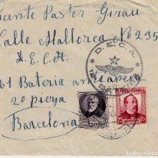 Sellos: SOBRE GUERRA CIVIL DE LA D.E.C.A. 12 BATERIA A LA 21 BATERÍA ANTIAEREA EN BARCELONA . Lote 161489678