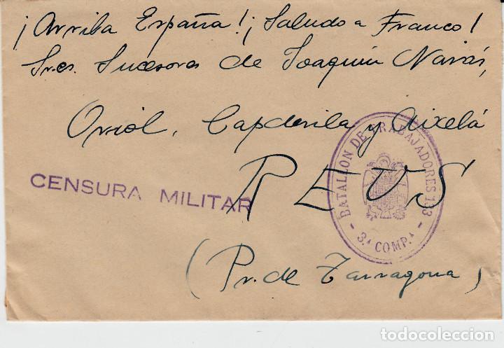SOBRE GUERRA CIVIL - SELLO DE CENSURA MILITAR Y DEL BATALLON DE TRABAJADORES 3. CIA DESTINO REUS (Sellos - España - Guerra Civil - De 1.936 a 1.939 - Cartas)