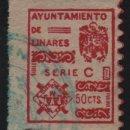 Sellos: LINARES- JAEN- 50 CTS,-SELLO MUNICIPAL- SERIE. C. VER FOTO. Lote 161696994