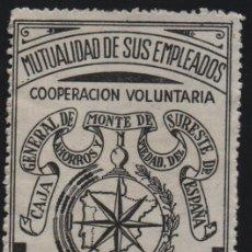 Francobolli: MONTE DE PIEDAD SURESTE DE ESPAÑA, 1 PTA, MUTUALIDAD DE SUS EMPLEADOS, VER FOTO. Lote 161698906