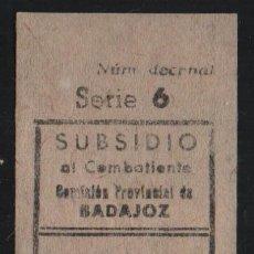 Sellos: BADFAJOZ, 5 CTS, -SUBSIDIO AL COMBATIENTE- VER FOTO. Lote 161696662