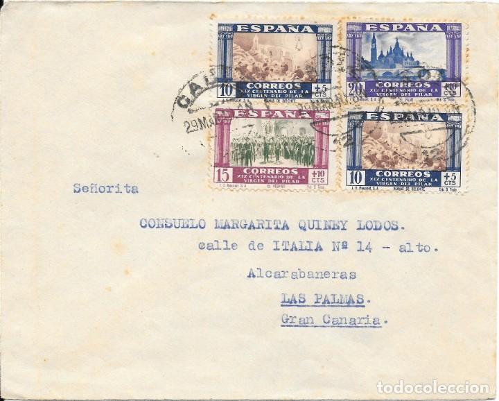 GUERRA CIVIL. PILAR. EDIFIL 889 (2) - 890 - 891. CIRCULADO DE CADIZ A LAS PALMAS. 1940 (Sellos - España - Guerra Civil - De 1.936 a 1.939 - Cartas)