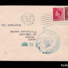 Sellos: *** CARTA LIVERPOOL-MÁLAGA (VÍA GIBRALTAR) 1937. CENSURA MILITAR ALGECIRAS (AZUL NO CATALOGADA) ***. Lote 162096134