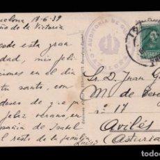 Sellos: ** TARJETA BARCELONA-AVILÉS (ASTURIAS) 1939. FRANQUICIA AUDITORÍA DE GUERRA - CATALUÑA (MUY RARA) **. Lote 162105266