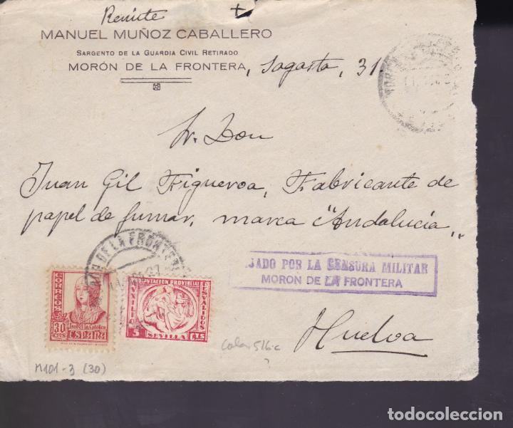 CM1-12- GUERRA CIVIL.FRONTAL MORÓN DE LA FRONTERA (SEVILLA) 1937. LOCAL Y CENSURA (Sellos - España - Guerra Civil - De 1.936 a 1.939 - Cartas)