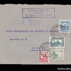 Sellos: *** FRONTAL AYAMONTE-HUELVA 1937. CENSURA MILITAR AYAMONTE + BENÉFICO ***. Lote 162135566