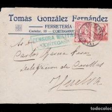 Sellos: * LOTE 2 FRONTALES CORTEGANA-HUELVA 1937. CENSURA MILITAR CORTEGANA VIOLETA Y VERDE NO CATALOGADO * . Lote 162144202