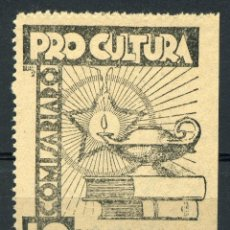 Sellos: ESPAÑA. GUERRA CIVIL. PRO CULTURA. COMISARIADO. EDIFIL Nº113. GG. Nº2056. Lote 162166178