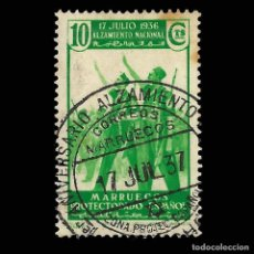 Sellos: SELLOS ESPAÑA.MARRUECOS.1937. ALZAMIENTO NACIONAL. 10C. USADO. .EDIFIL.Nº172. Lote 162329522
