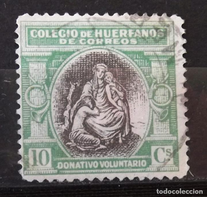 BENEFICENCIA, HUÉRFANOS CORREOS, B2, USADO, ALEGORÍA. (Sellos - España - Guerra Civil - Beneficencia)