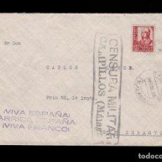 Sellos: *** CARTA CAMPILLOS (MÁLAGA)-SAN SEBASTIÁN 1938. DOBLE CENSURA CAMPILLOS + LOCAL CAMPILLOS ***. Lote 162341146