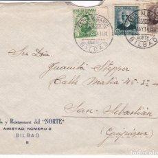 Sellos: CM1-48- CARTA FONDA DEL NORTE, ALCANCE ESTACIÓN NORTE BILABAO- SAN SEBASTIAN 1934. Lote 162417766