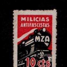 Sellos: GUERRA CIVIL GG-2053 GUERRA CIVIL MZA (LINEA MADRID-ZARAGOZA-ALICANTE) MILICIAS ANTIFASCISTAS 10 CT. Lote 162447157