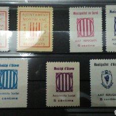 Sellos: GUERRA CIVIL. LOTE DE 7 VIÑETAS. ALCOVER, MONTBLANC Y SARRAL. TARRAGONA. MNH.. Lote 162912137