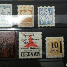 Sellos: GUERRA CIVIL. LOTE DE 6 VIÑETAS. 4 DE ALICANTE. MNH.. Lote 162912292