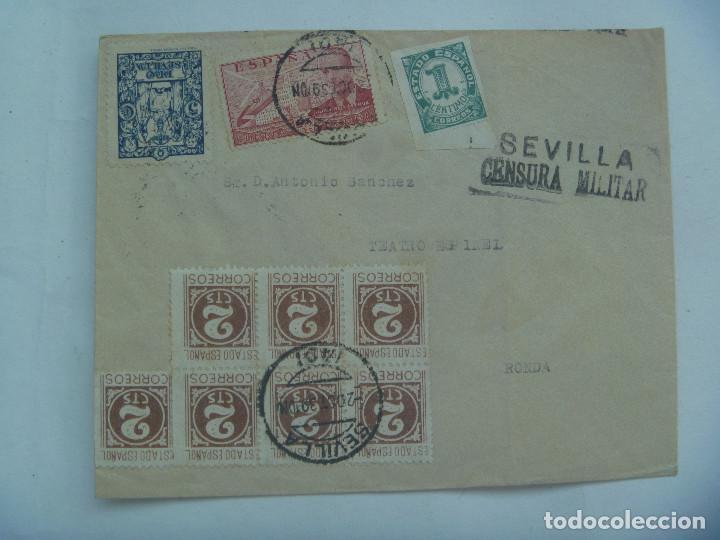 CARTA DE METRO GOLDWYN MAYER A RONDA MALAGA. SELLOS ESTADO ESPAÑOL, CENSURA, VIÑETA PRO SEVILLA (Sellos - España - Guerra Civil - De 1.936 a 1.939 - Cartas)