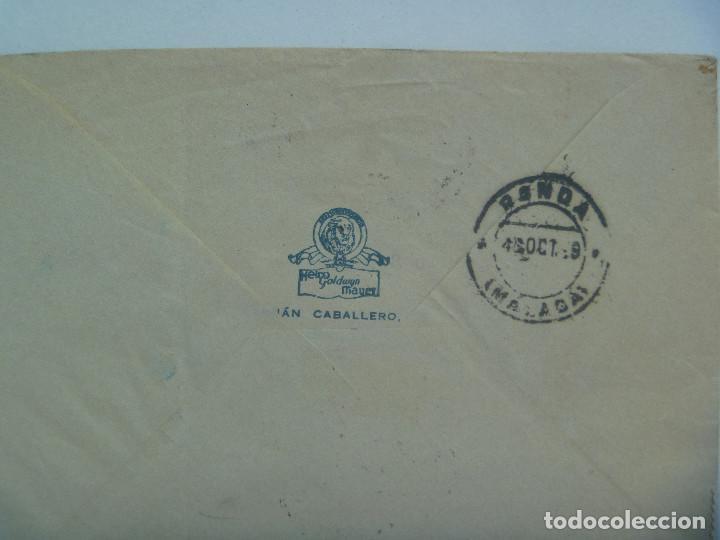 Sellos: CARTA DE METRO GOLDWYN MAYER A RONDA MALAGA. SELLOS ESTADO ESPAÑOL, CENSURA, VIÑETA PRO SEVILLA - Foto 3 - 163769314