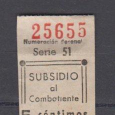 Sellos: MADRID. EDIFIL 19 *. 5 CTS NEGRO SUBSIDIO AL COMBATIENTE.. Lote 163866410