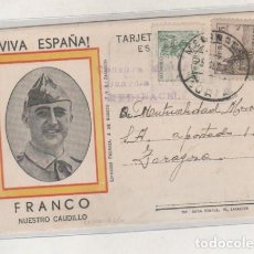 Sellos: POSTAL PATRIÓTICA CON CENSURA MILITAR GUARDIA CIVIL. MEDINACELI SORIA 23/9/1938 GUERRA CIVIL. Lote 164602566