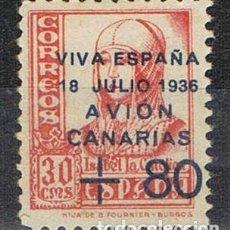 Sellos: 0705. SELLO, VIÑETA CANARIAS 30 CTS +80, PATRIOTICA, GUERRA CIVIL, NUM 15A *. Lote 164725834