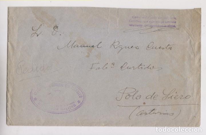 SOBRE CON FRANQUICIA INTERVENCIÓN DEL EJÉRCITO A POLA DE SIERO, ASTURIAS. (Sellos - España - Guerra Civil - De 1.936 a 1.939 - Cartas)