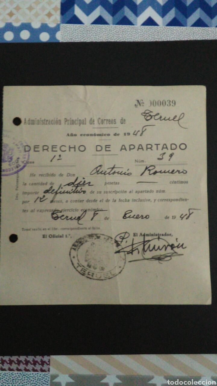 DERECHO DE APARTADO. ADMON. DE TERUEL. MUTUALIDADES DE HUERFANOS DE CORREOS. (Sellos - España - Guerra Civil - Beneficencia)