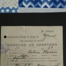 Sellos: DERECHO DE APARTADO. ADMON. DE TERUEL. MUTUALIDADES DE HUERFANOS DE CORREOS.. Lote 164924046