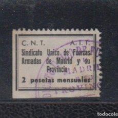 Sellos: MADRID. EDIFIL NO CATALOGADO. 2 PTAS NEGRO C.N.T A.I.T. Lote 165038734