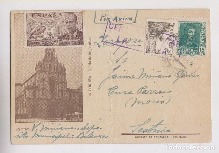 PRECIOSA TARJETA. CORUÑA, GALICIA. POR AVIÓN. CENSURA MILITAR. AÑO 1939 (Sellos - España - Guerra Civil - De 1.936 a 1.939 - Cartas)