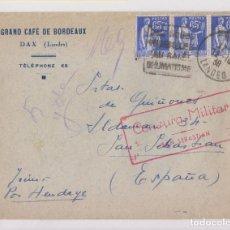 Sellos: SOBRE. DAX A SAN SEBASTIÁN. 1938. CENSURA MILITAR. Lote 165402262