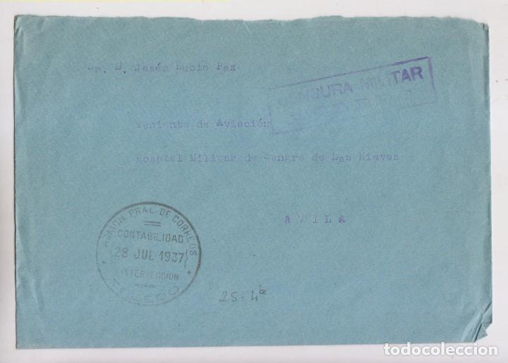 SOBRE. FRANQUICIA DE CORREOS. TOLEDO A ÁVILA. 1937. CENSURA MILITAR (Sellos - España - Guerra Civil - De 1.936 a 1.939 - Cartas)