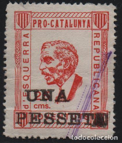 JUVENTUT ESQUERRA REPUBLICANA, 1 PTA, SOBRE 25 CTS, --PRO-CATALUNYA-- VER FOTO (Sellos - España - Guerra Civil - De 1.936 a 1.939 - Usados)
