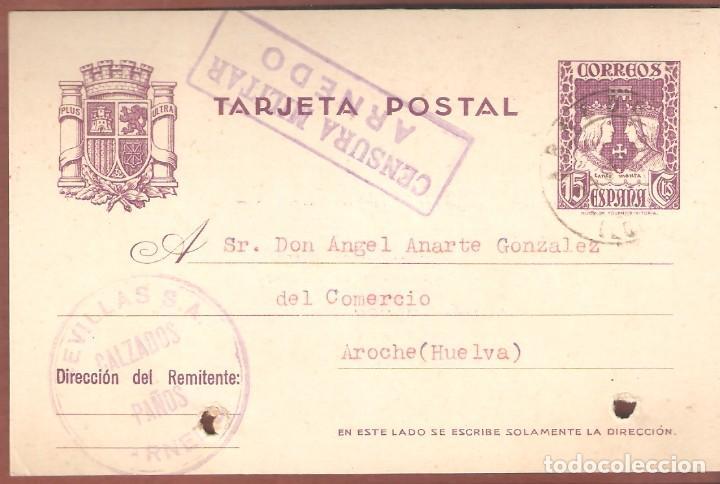 GUERRA CIVIL: TARJETA POSTAL COMERCIAL ARNEDO (LOGROÑO) - AROCHE (HUELVA) (Sellos - España - Guerra Civil - De 1.936 a 1.939 - Cartas)
